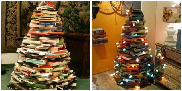 Lampadine Decorate Per Natale : un albero di natale fatto di libri