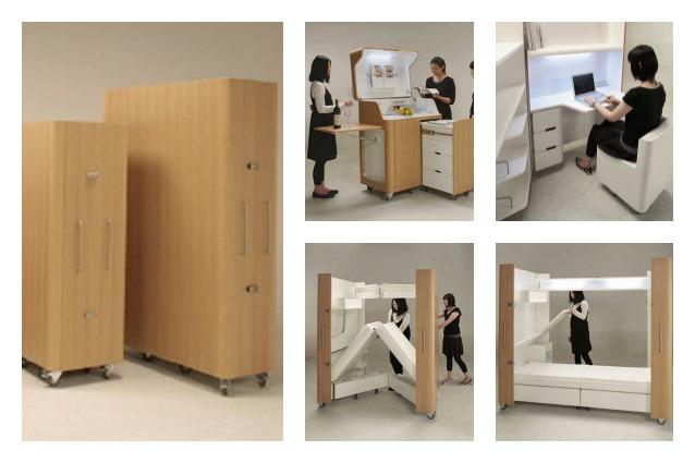 Kenchikukagu è una serie di mobili pieghevoli che contengono in poco ...
