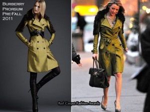 Blake Lively style: trench Burberry con pelliccia sul set di Gossip Girl 4.
