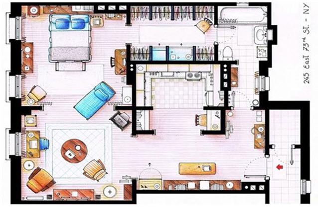 La planimetria per realizzare la casa di carrie bradshaw - Planimetria casa ...