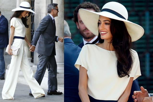 Alamuddin sposa chic pantaloni e cappello per il matrimonio con George ...