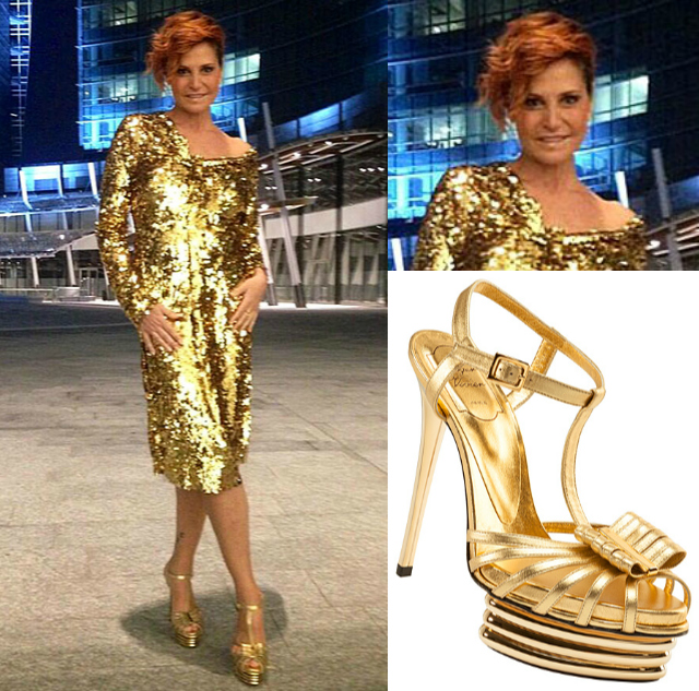 Simona Ventura, look glamour per il lancio della nuova ...