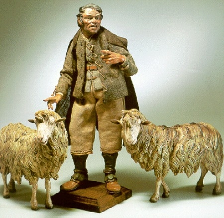 tipico pastore del presepe napoletano con percore