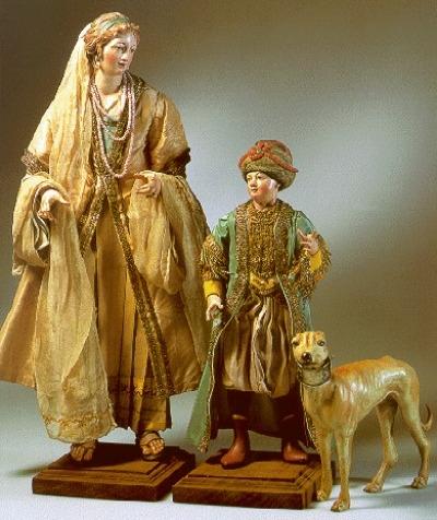 pastorella ricca con giovane servo e cane