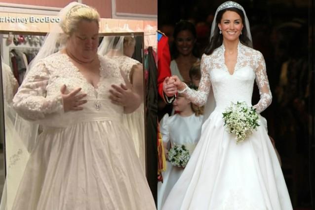 Vestita con l'abito da sposa di Kate Middleton, ma pesa 119 kg