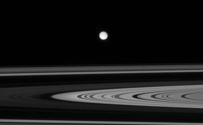 Encelado tra gli anelli