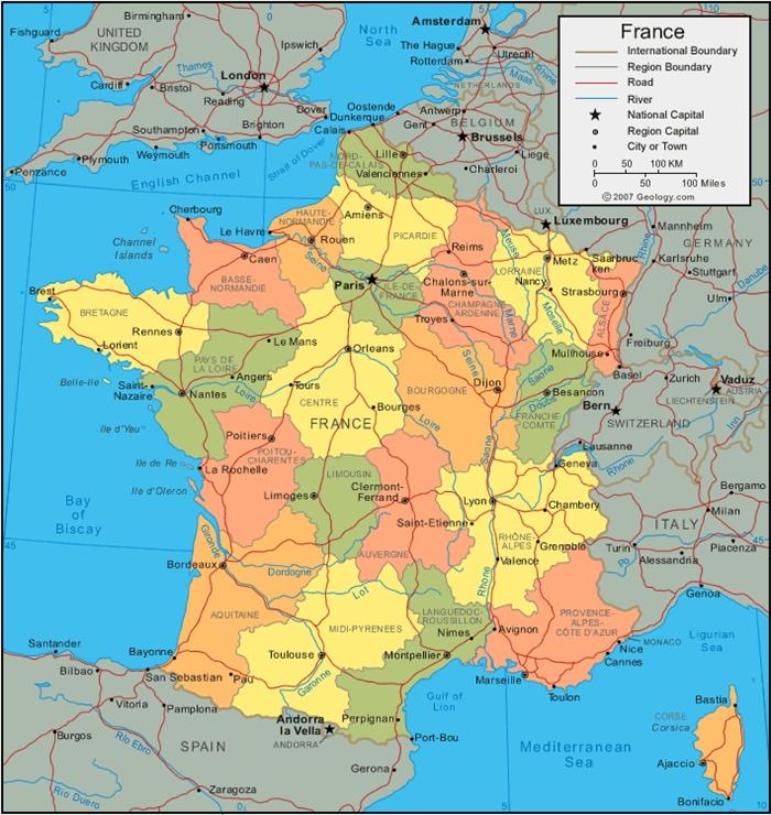 Francia Politica Cartina.Francia Mappa Politica