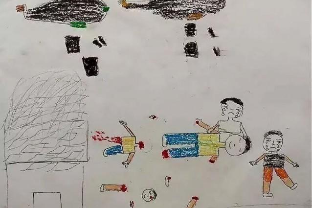 Disegno Di Un Bambino : Siria i disegni dei bambini di aleppo: corpi a pezzi bombe e lacrime