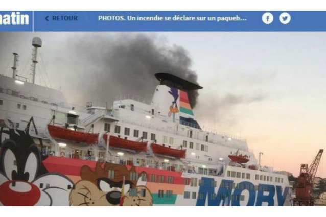 Nave della Moby Lines in fiamme a Nizza