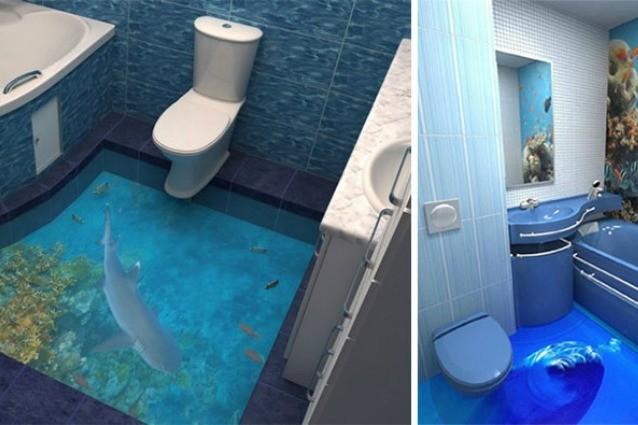 Come trasformare il bagno in un oceano tridimensionale - Trasformare ripostiglio in bagno ...
