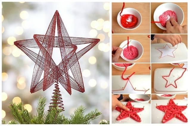 Come fare un puntale a stella per l 39 albero di natale con - Decorazioni natalizie legno fai da te ...