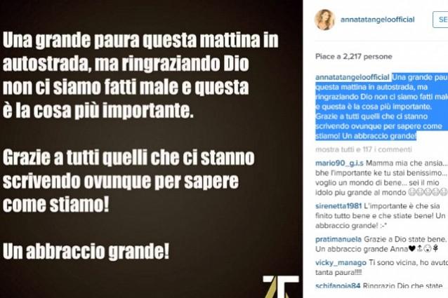 Incidente stradale per Anna Tatangelo sulla Roma-Napoli