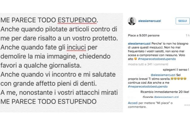 Alessia Marcuzzi si difende veemente sui social