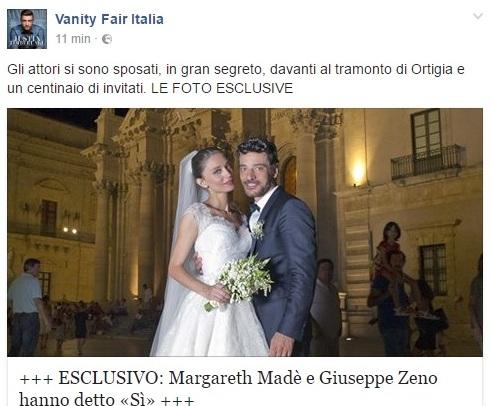 Giuseppe Zeno e Margareth Madè, matrimonio a sorpresa Siracusa