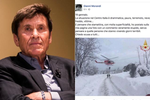 """Terremoto Centro Italia, la gaffe di Morandi: """"Ho fatto un commento stupido, scusatemi"""""""