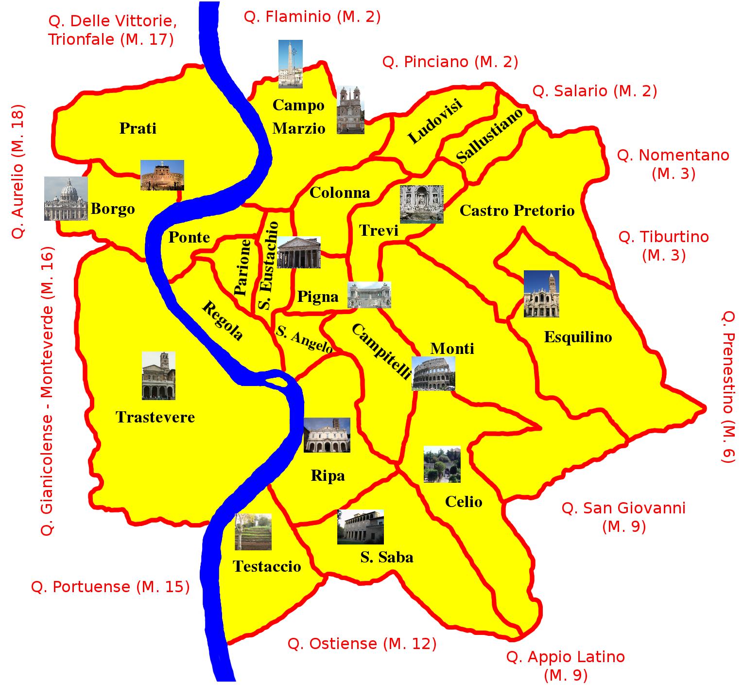 Quartieri Roma Cartina.Mappe Di Roma Per Non Perdersi Nella Capitale