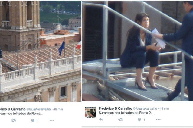 Roma, la Sindaca Raggi fotografata sul tetto del Campidoglio