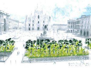 Palme e banani in piazza Duomo a Milano: lo sponsor è Starbucks (che apre a breve)