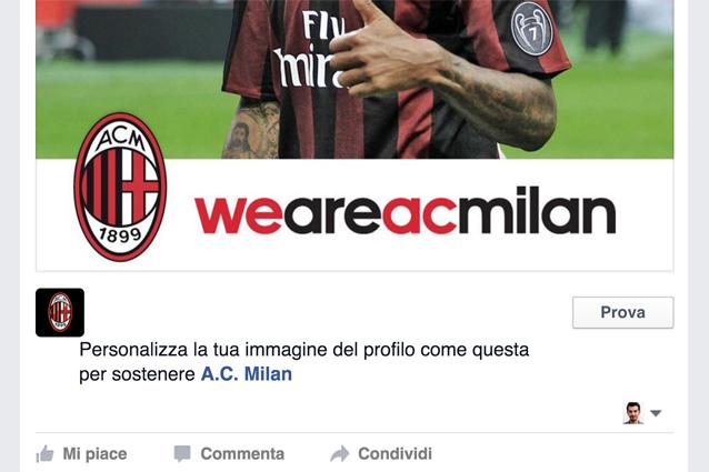 facebook i tifosi del milan possono personalizzare l