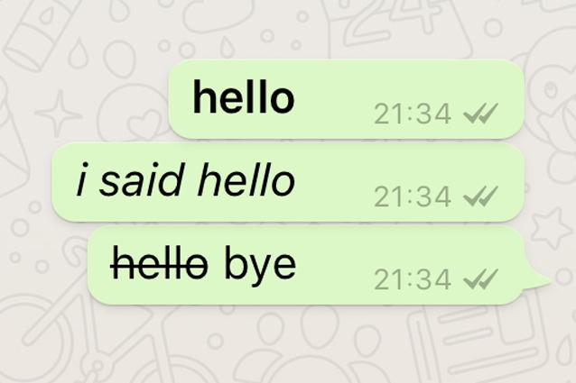 Guida alla formattazione del testo su Whatsapp: corsivo, grassetto e barrato.