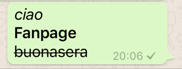 Le tre formattazioni di testo disponibili su Whatsapp.
