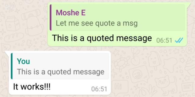 WhatsApp permette di citare i messaggi nell'ultima Beta