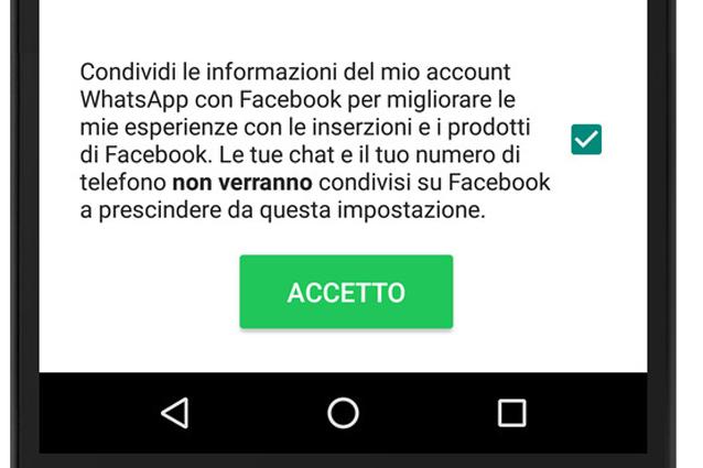 WhatsApp condividerà i dati con Facebook