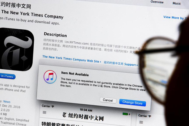 Apple rimuove le app per leggere il New York Times in Cina