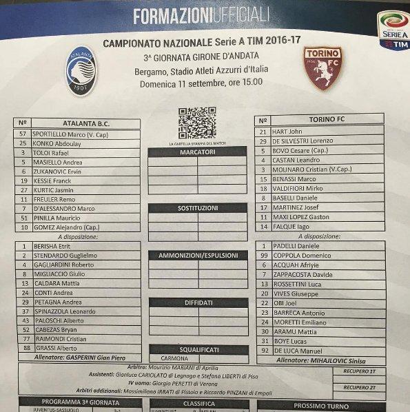 Atalanta - Torino, le formazioni ufficiali