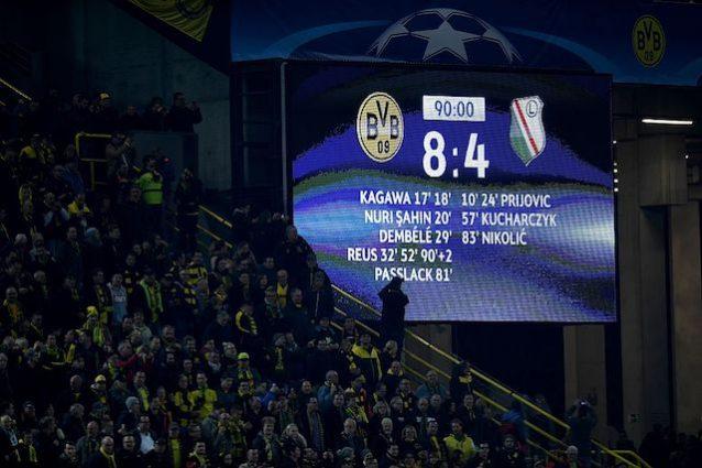 Champions League, follia Borussia Dortmund - Legia: 8-4! Nuovo record di gol complessivi