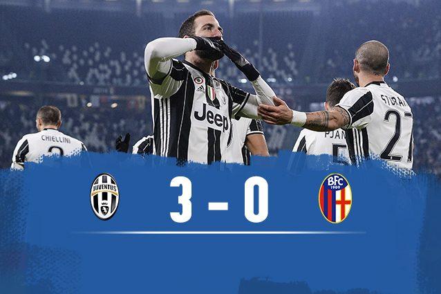 Juventus sul velluto: doppietta Higuain, rigore Dybala e Bologna ko