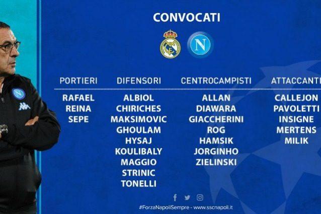 Napoli, c'è anche Tonelli nella lista dei convocati per il Real Madrid