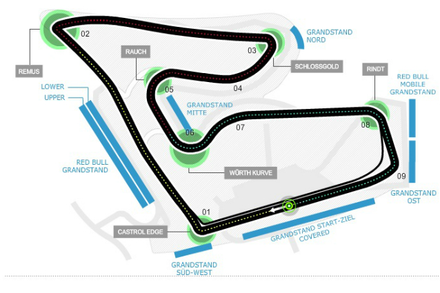 Circuito Formula 1 Austria : F gp austria un giro di pista sul red bull ring