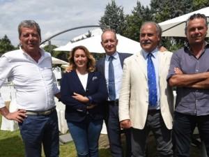 Stefano Bruni e i responsabili del gruppo interessato ad acquistare il Bologna Fc (fonte: Il Resto del Carlino Bologna)
