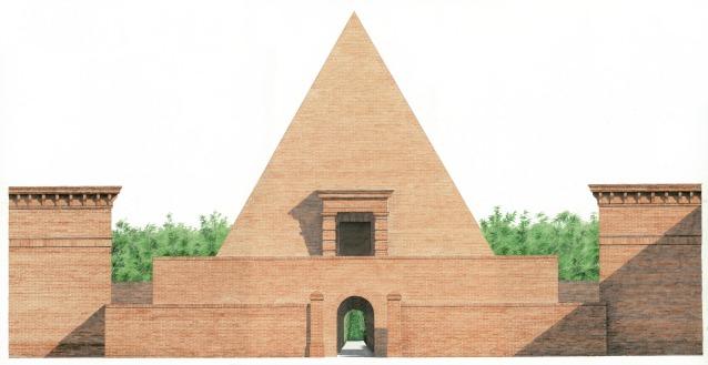Alzato colorato ad acquerello della piramide all'interno del Labirinto (© Franco Maria Ricci/Pier Carlo Bontempi)