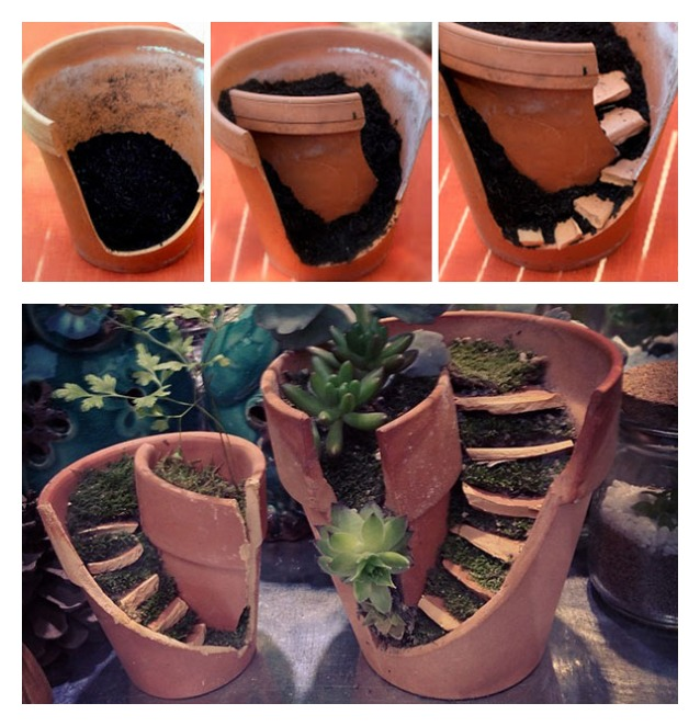 Come trasformare vasi rotti in oggetti utili e belli - Oggetti per giardino ...