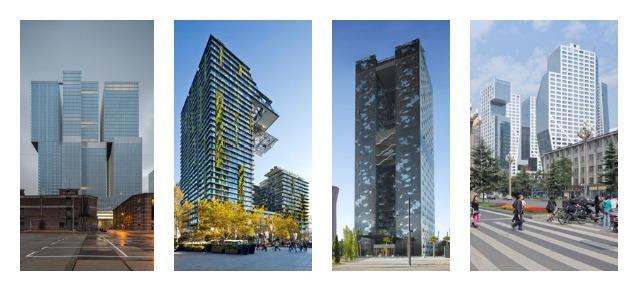 Da sinistra: De Rotterdam, Rotterdam / OMA, One Central Park, Sydney / Ateliers Jean Nouvel, Renaissance Barcelona Fira Hotel, Barcellona / Ateliers Jean Nouvel, Sliced Porosity Block, Chengdu / Steven Holl Architects