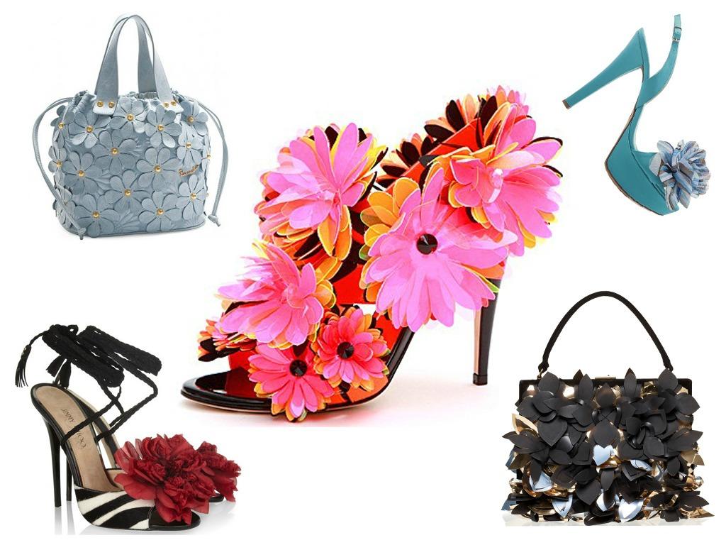 fiori 3d decorano scarpe e borse per la p e 2012