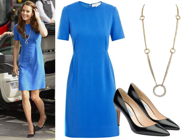 Kate-Middleton-collana-Cartier abito stella mccartney scarpe prada