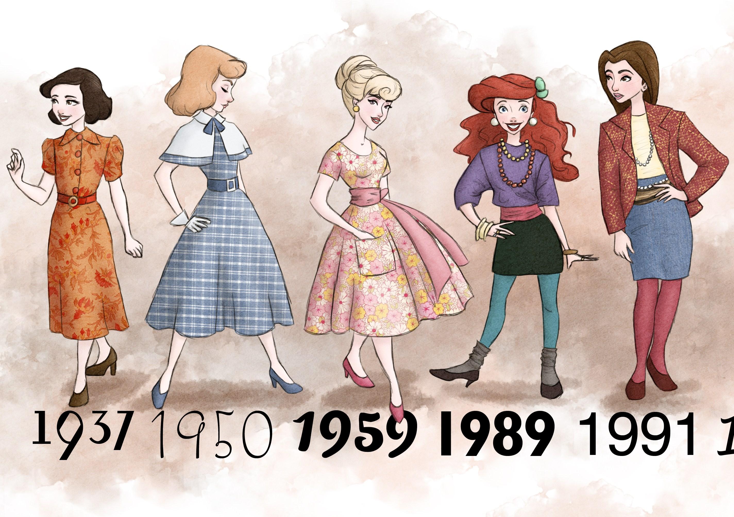 Lo stile delle principesse disney dagli anni ad oggi