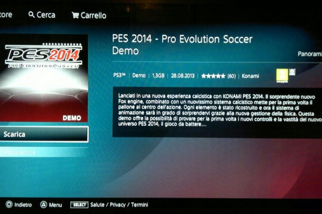 La demo di PES 2014 resa disponibile per sbaglio su PlayStation Network e subito rimossa [VIDEO]