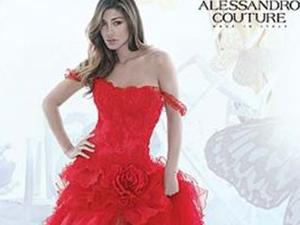 belen rodriguez sposa in rosso