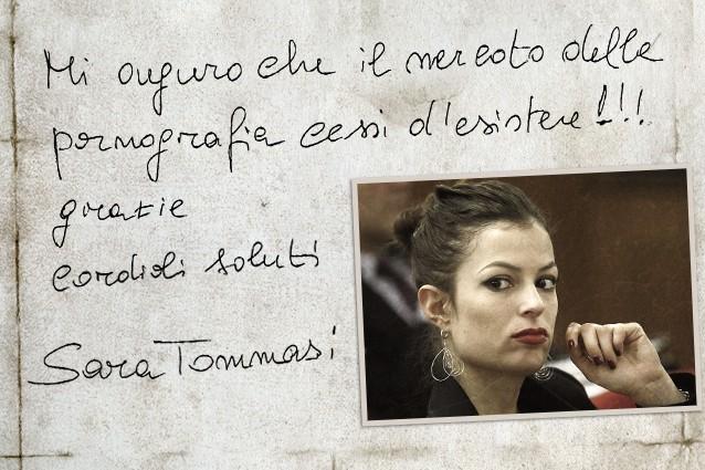 """Sara Tommasi pubblica e firma di suo pugno una lettera sul portale di Alfonso Luigi Marra, confermando le accuse del giurista alla casa di produzione hard: """"Io drogata, mi auguro che il porno cessi d'esistere""""."""