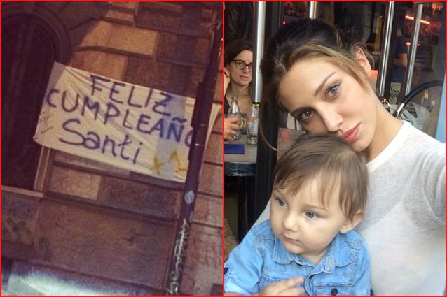 Fabuleux il compleanno di Santiago striscioni dai fan sotto casa di Belén  BQ42