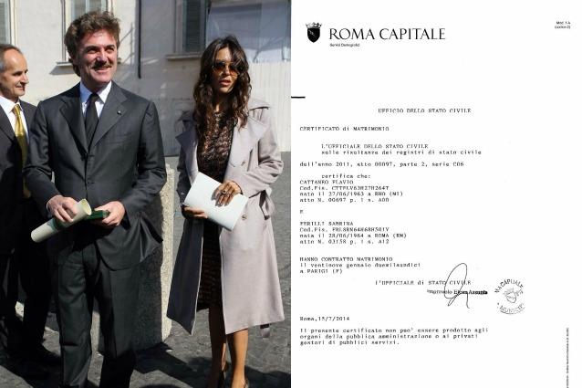 Sabrina Ferilli E Flavio Cattaneo Sposi A Parigi Nel 2011 Ecco Il Certificato