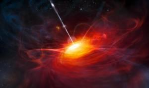 Un'immagine artistica elaborata dall'European Southern Observatory mostra un buco nero recentemente scoperto, della massa due miliardi di volte quella del Sole.