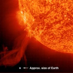 Una protuberanza solare comparata con le dimensioni della Terra.