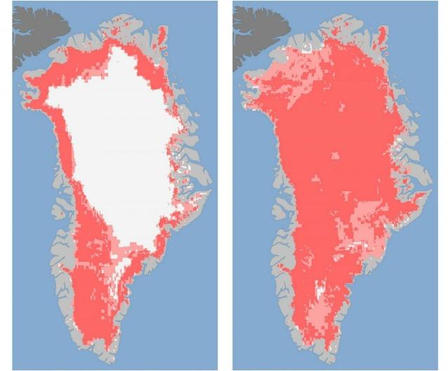 A sinistra, la Groenlandia l'8 luglio del 2012 con circa il 40% della calotta di ghiaccio fusa. Accanto, appena quattro giorni dopo, il 12, la calotta fusa per il 97% (foto NASA)