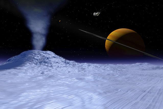 Rappresentazione artistica di un geyser su Encelado (Immagine Nasa).