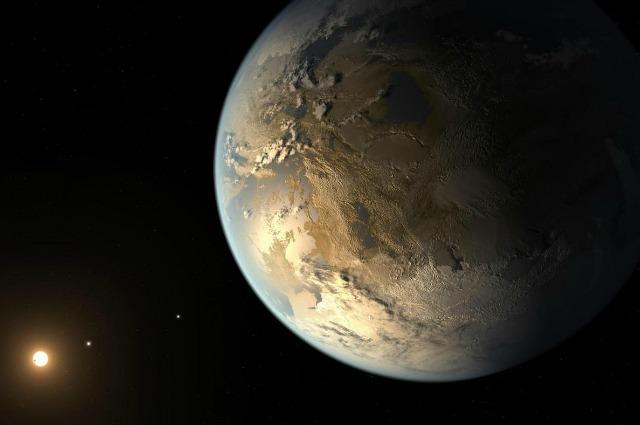 Rappresentazione artistica di Kepler–186f, in orbita attorno ad una Stella a 500 anni luce dalla Terra